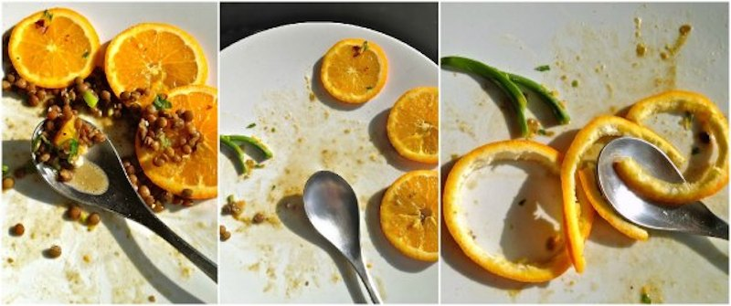 φακές με φέτα και πορτοκάλι