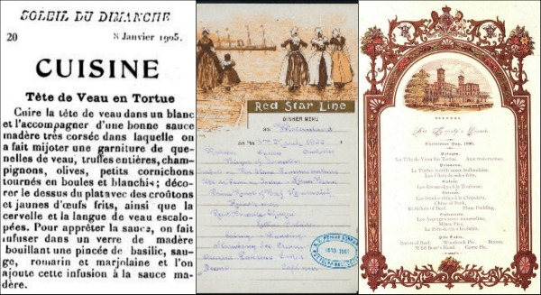 Soleil du Dimanche, 8.1.1905 (left) and H.M. Queen Victoria Xmas menu of 1896 (right)