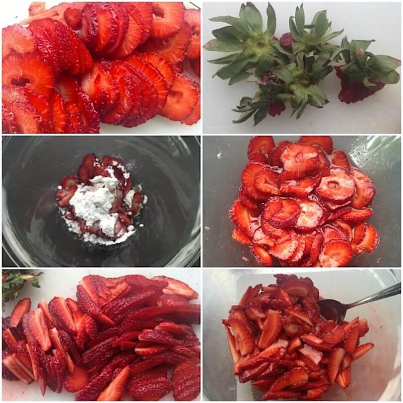ετοιμάζοντας τις φράουλες για το τιραμιφρεζιέ - τιραμισού με φράουλες