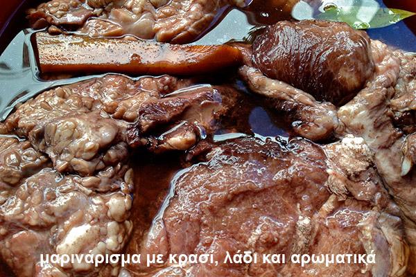 σπαλομπριζόλα - μαριναρισμα με κρασι λαδι και αρωματικα - marinarisma me krasi ladi k aromatika