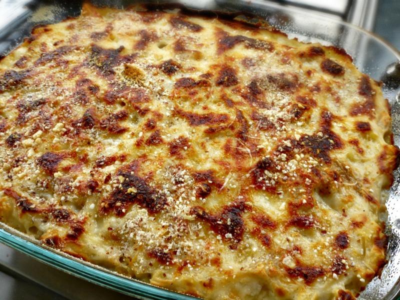 μακαρόνια ογκρατέν με τυριά - μακαρόνια φούρνου