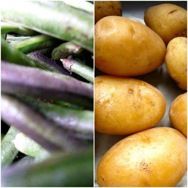 αμπελοφάσουλα και πατάτες με κουρκουμά