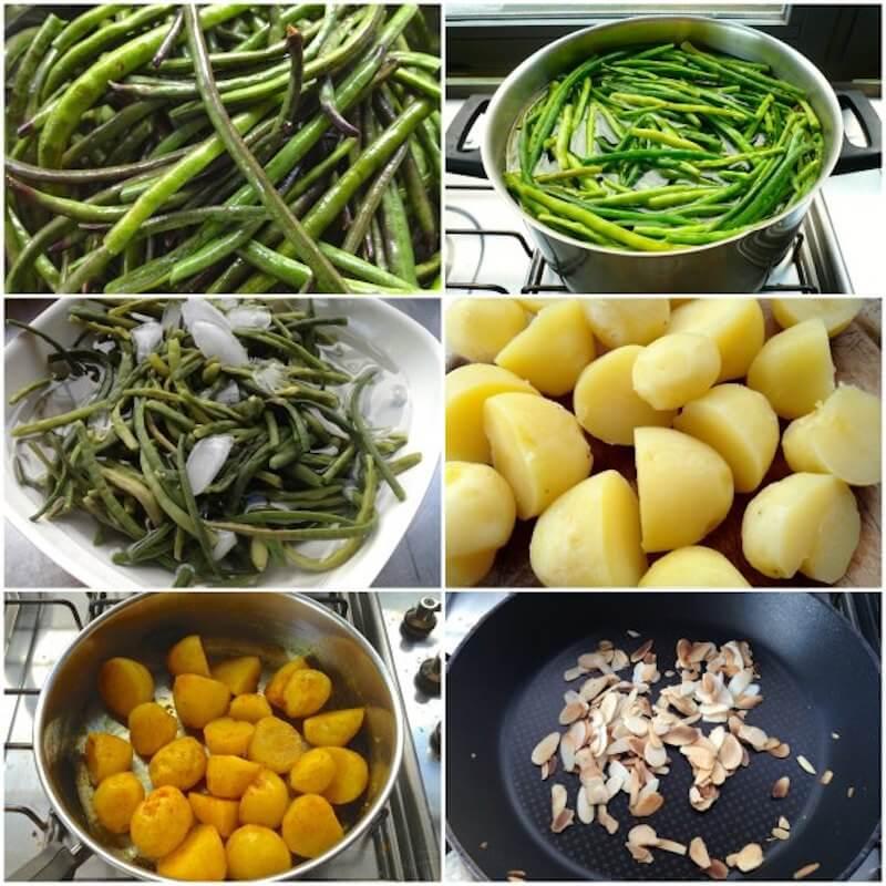 Ετοιμάζοντας αμπελοφάσουλα και πατάτες με κουρκουμά