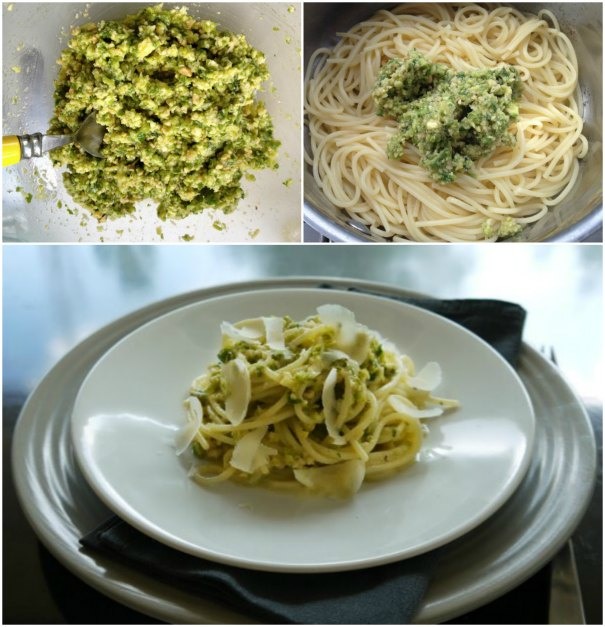 pesto with zucchini and walnut