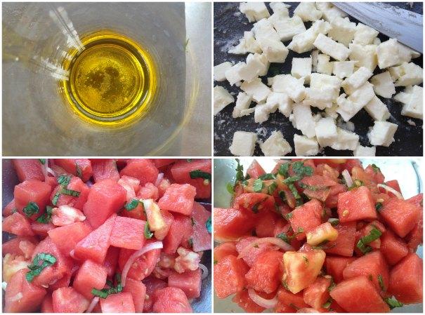 σαλάτα καρπούζι με ντομάτα