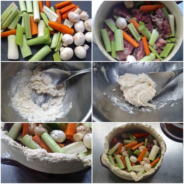 μοσχάρι στη γάστρα με λαχανικά: καρότα, μανιτάρια, πράσα - κρέας στη γάστρα με λαχανικά - φαγητα σε πήλινη γάστρα