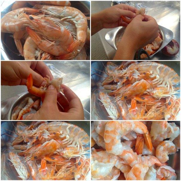 ταλιατέλες με θαλασσινά - καθάρισμα γαρίδας