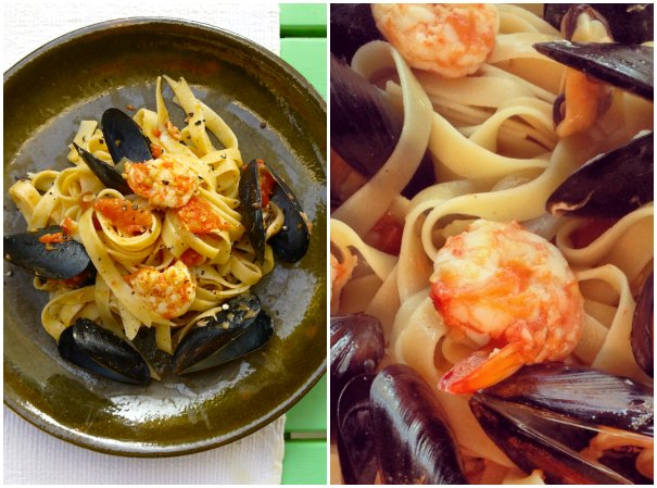 seafood tagliatelle with mussels and prawns
