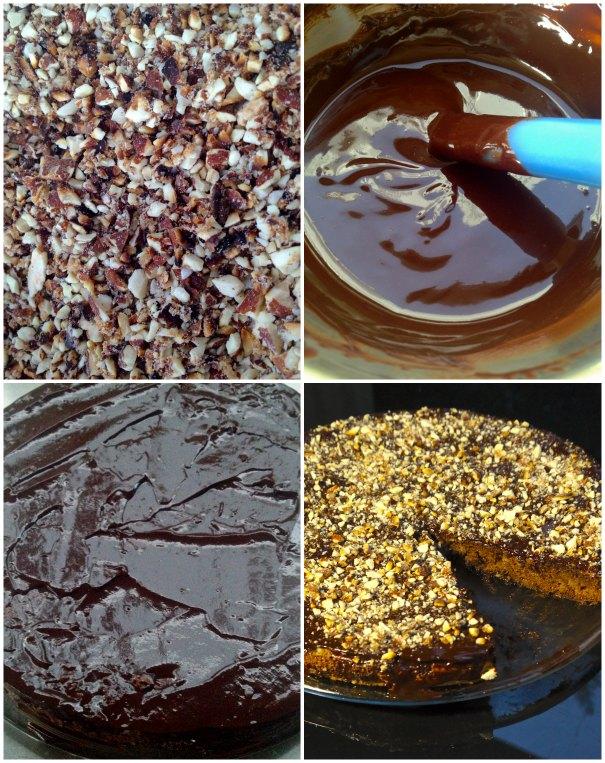 τάρτα μαύρης σοκολάτας με αμύγδαλα