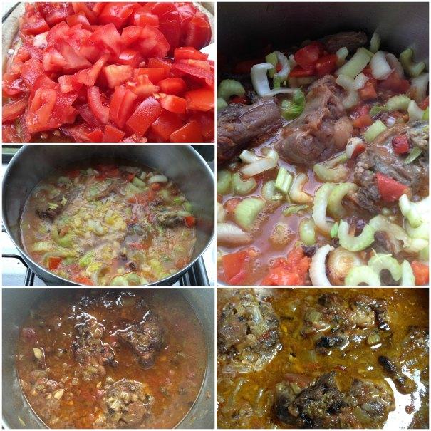ουρά μοσχαρίσια σιγομαγειρεμένη με σέλινο, ντομάτα και αρωματικά