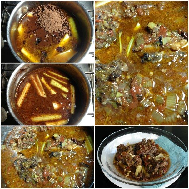 Ετοιμάζοντας την ουρά μοσχαριού με σέλινο και αρωματικά
