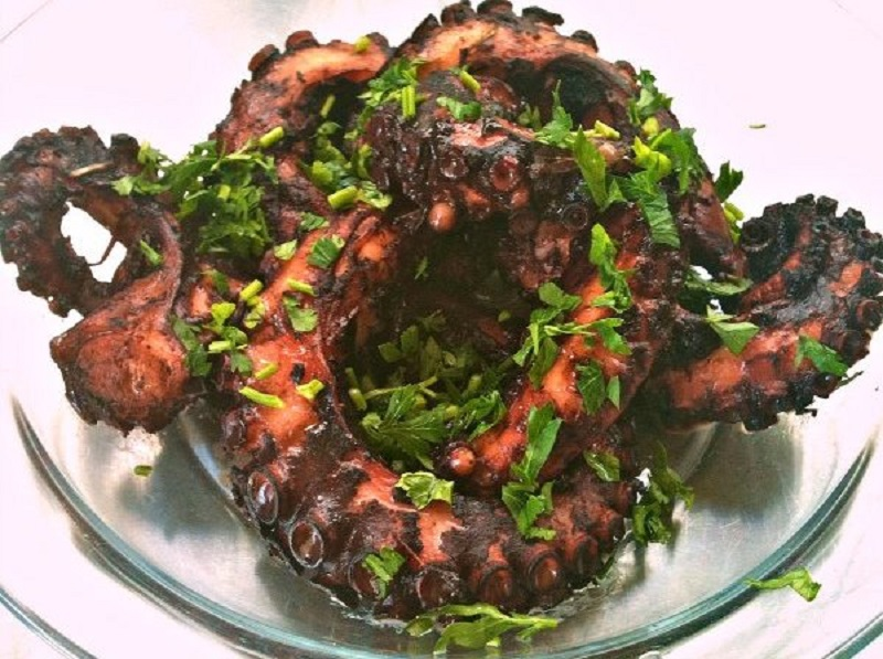 octopus in red wine and sage