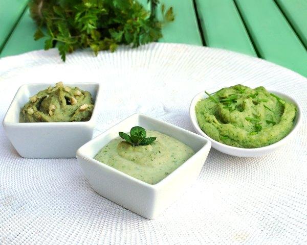 τρία πράσινα ντιπ με φασόλια και αρωματικά