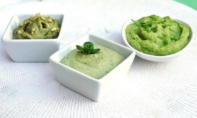 τρία πράσινα ντιπ με φασόλια: a certain shade of green
