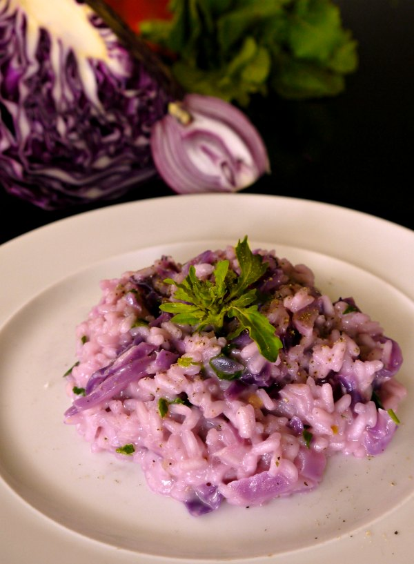 ριζότο με κόκκινο λάχανο