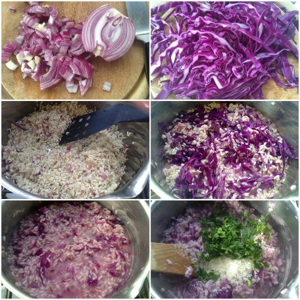 step by step παρασκευή του ριζότο με κόκκινο λάχανο