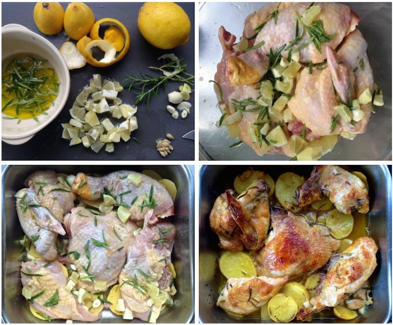 κοτόπουλο ψητό με λεμόνι και δενδρολίβανο