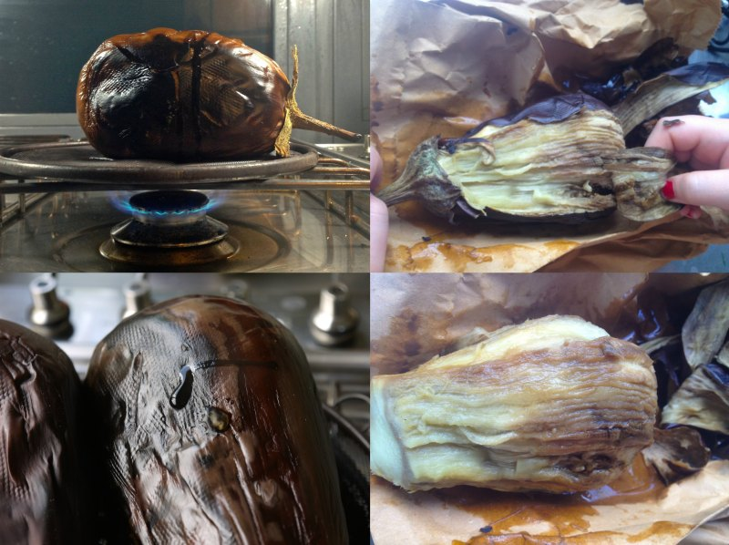 how to make smoked roast aubergines /eggplants for authentic aubergine salad