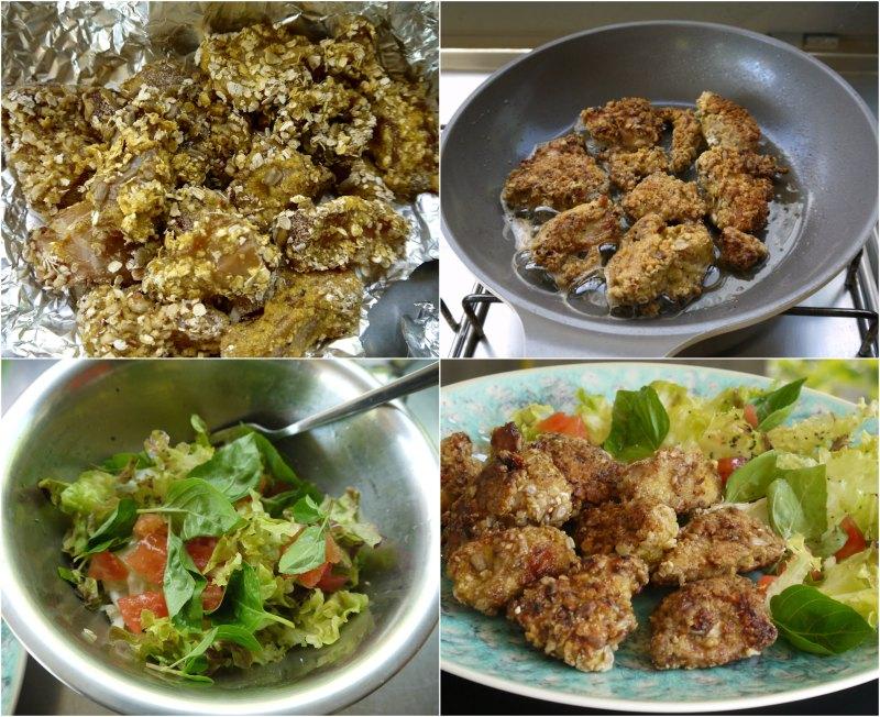 κοτόπουλο πανέ με καρύδια - τηγάνισμα και σαλάτα