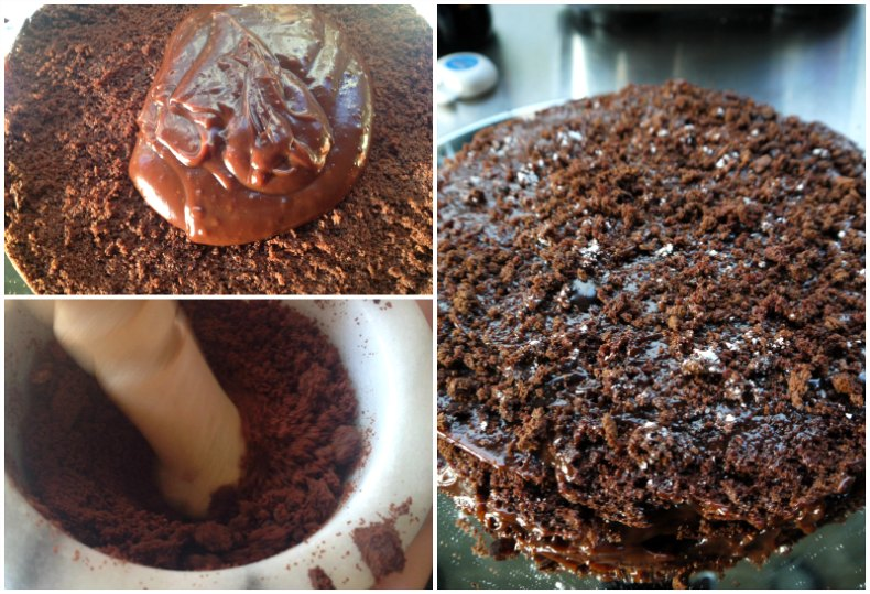 assembling chocolate blackout cake