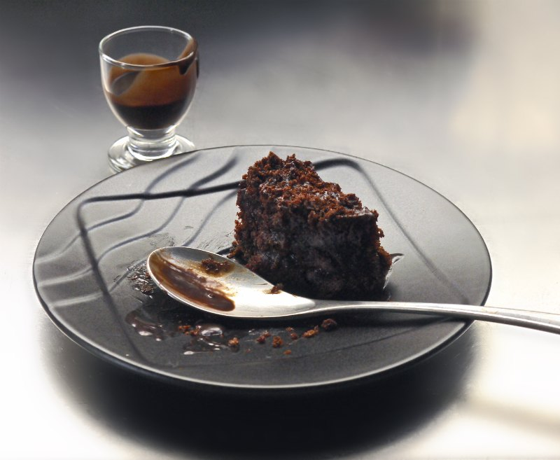 chocolate blackout cake serving