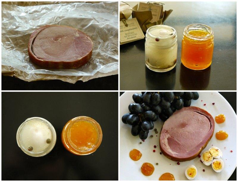 χαμ: κρύο πιάτο με καπνιστό ζαμπόν, μαρμελάδα και φρούτα