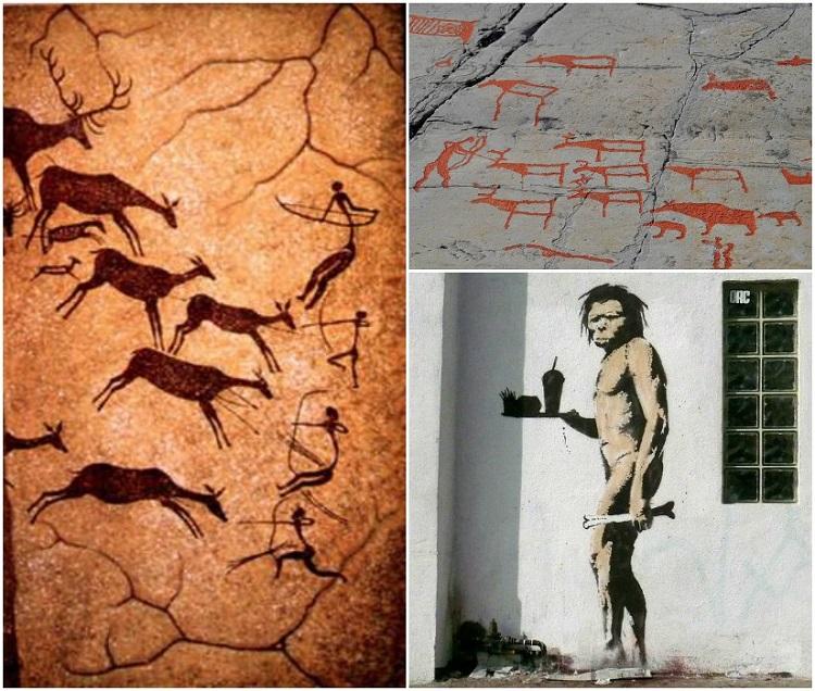 paleo cavemen collage
