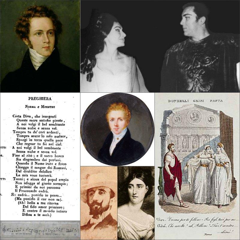 Βιτσέντσο Μπελίνι, Μαρία Κάλας στη Νόρμα, Τζιουντίτα Πάστα, Νίνο Μαντόλιο, επιγραφή στον τάφο του συνθέτη και η Casta Diva, απόσπασμα από το λιμπρέτο