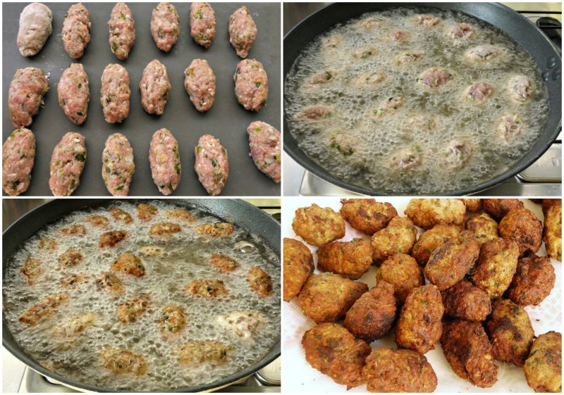cypriot meatballs -frying