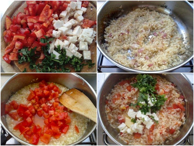Παρασκευή ριζότο με ντομάτα και φέτα