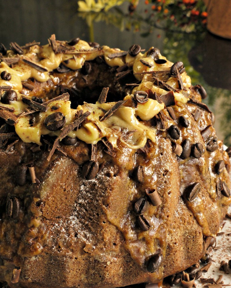 Coffee flavoured cake with espresso frosting