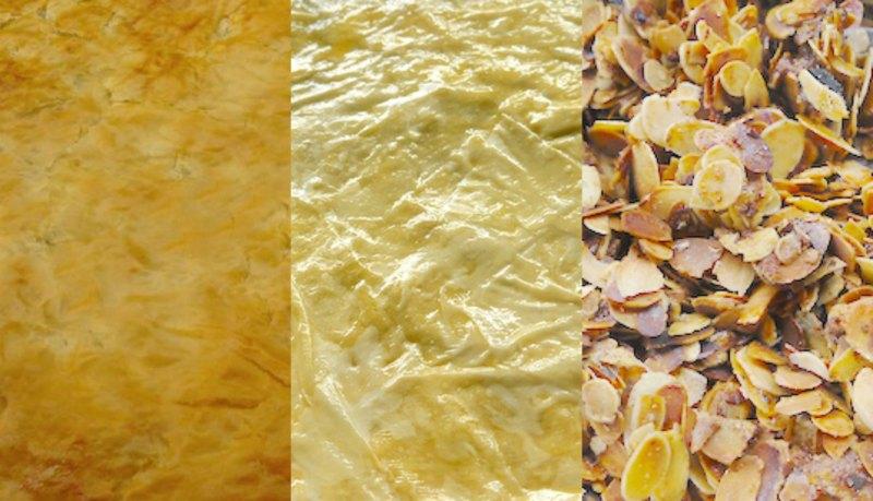 παστίγια: φύλλο, βούτυρο, αμύγδαλα