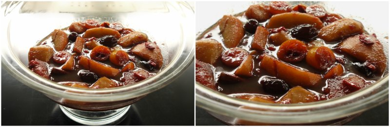 caramelized apples in wine with kumquat