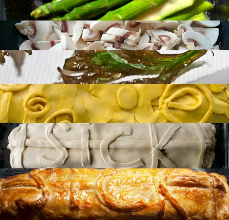 salmon in puff pastry with asparagus