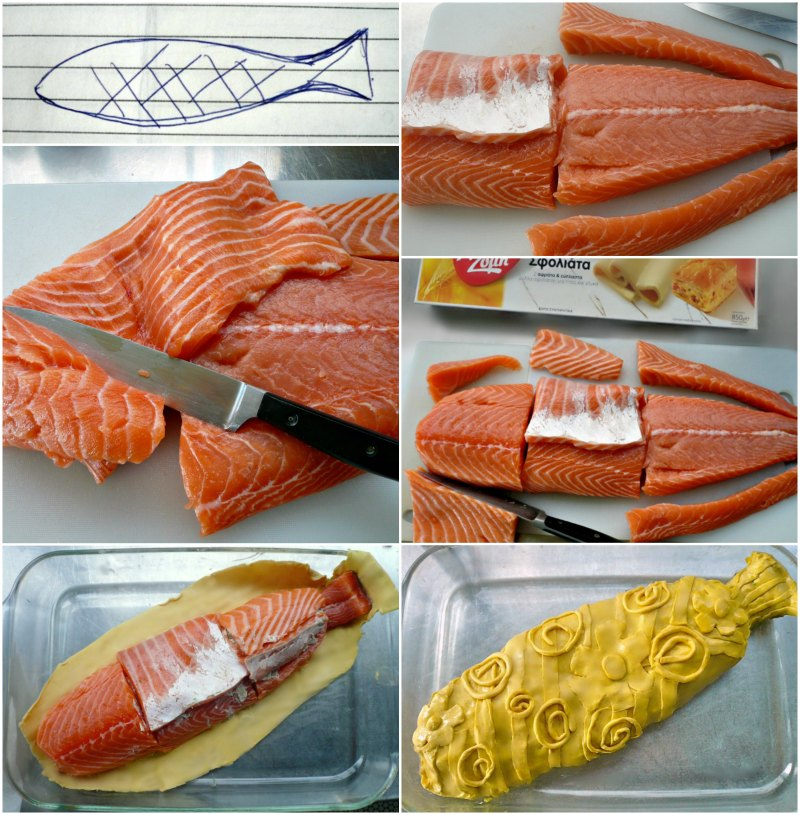 making salmon in puff pastry