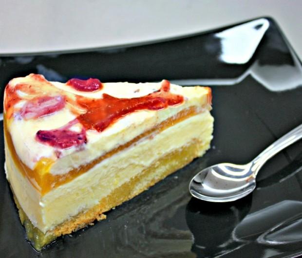 lemon cream cake with fruit jelly