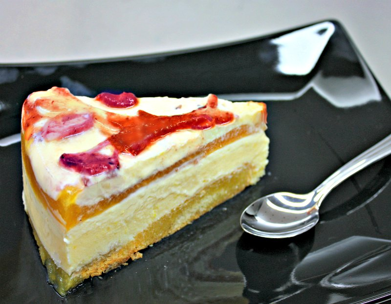 lemon cream cake with fruit jelly