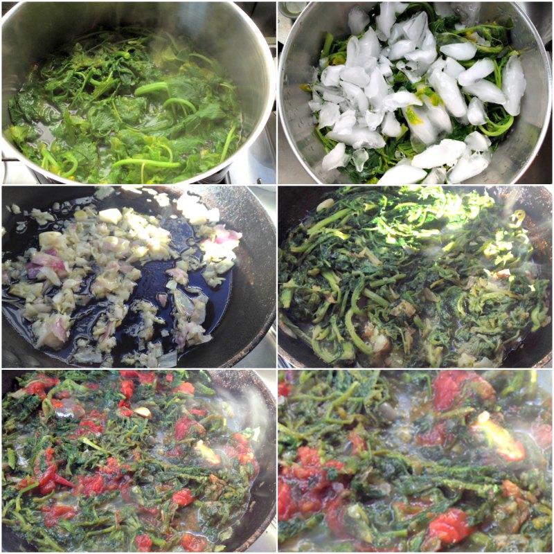 χόρτα στο τηγάνι με ταλαγάνι και λουκάνικο μαύρου χοίρου