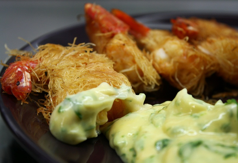kataifi shrimps in a crispy net with aioli