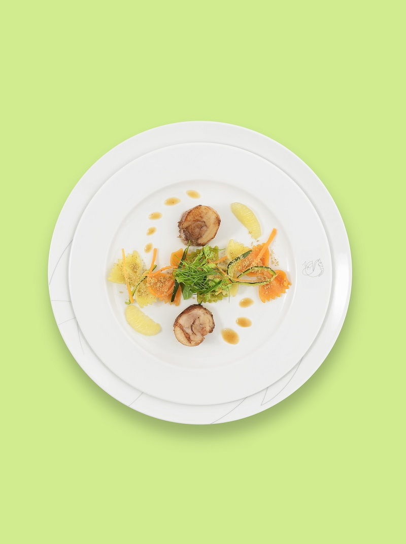 Κοτόπουλο στον ατμό με μέλι και λεμόνι-πιάτο του Régis Marcon