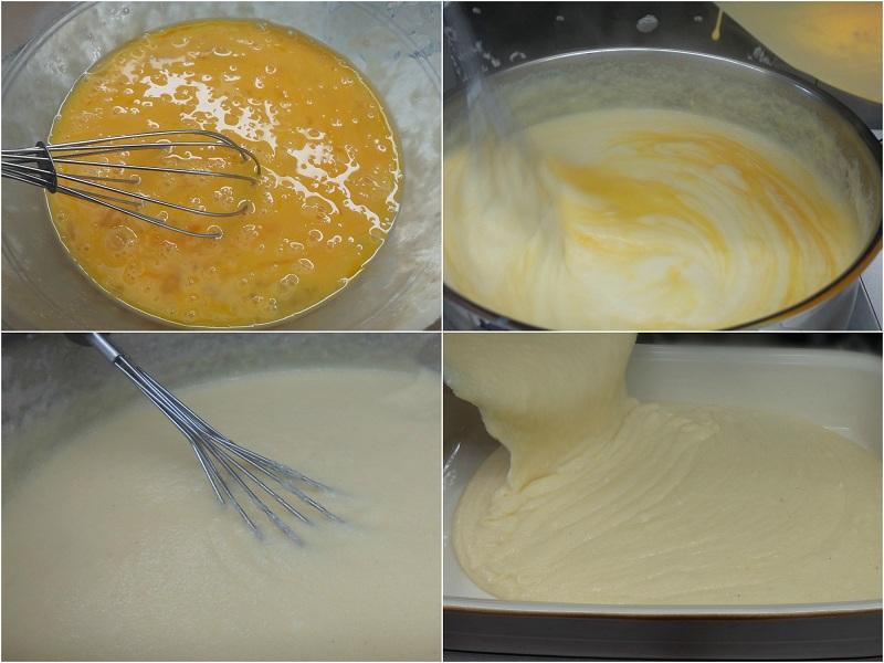 ετοιμάζοντας την γαλατόπιτα βήμα βήμα: αυγά και κρέμα με σιμιγδάλι