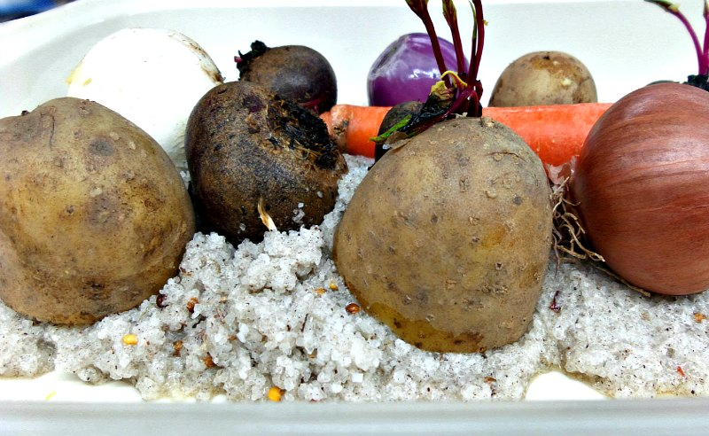 λαχανικά ψητά στο αλάτι
