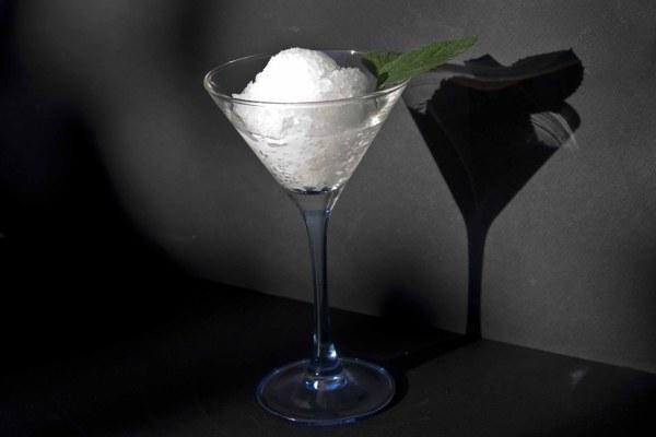 ouzo granite-gin and tonic sorbet