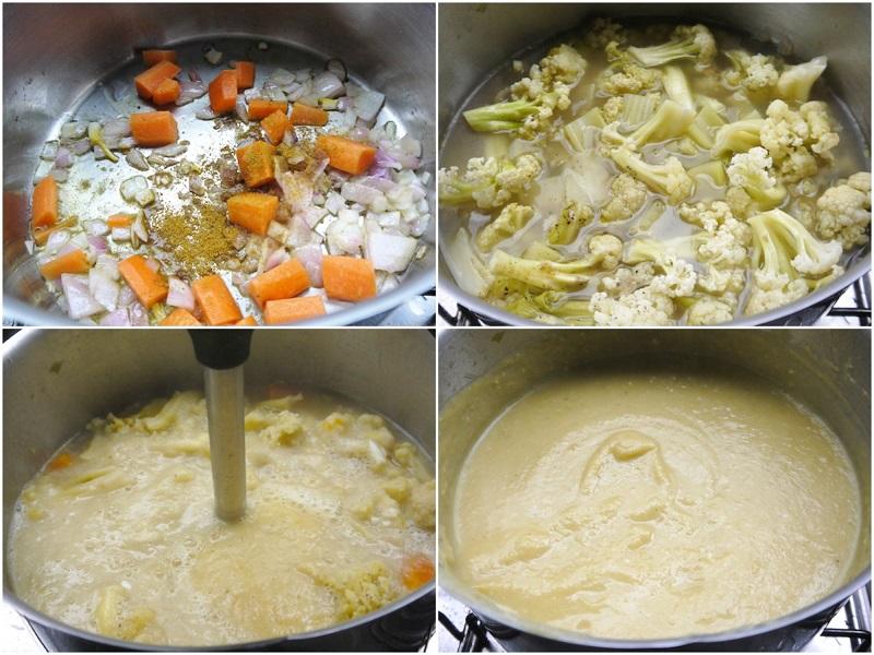 βελουτέ σούπα κουνουπίδι με πατάτα, καρότο, κύμινο