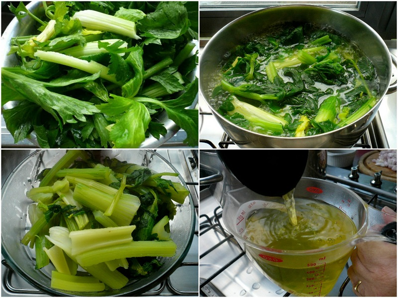 preparing the gree celery for the goat or lamb fricassée