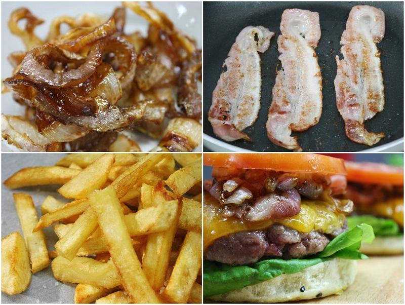τα υλικά για εύκολο κλασικό, αμερικάνικο μπέργκερ: καραμελωμένα κρεμμύδια, μπέικον, πατάτες, τσένταρ, ντομάτα, μαρούλι