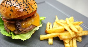 perfect homemade burger with caramelised onions