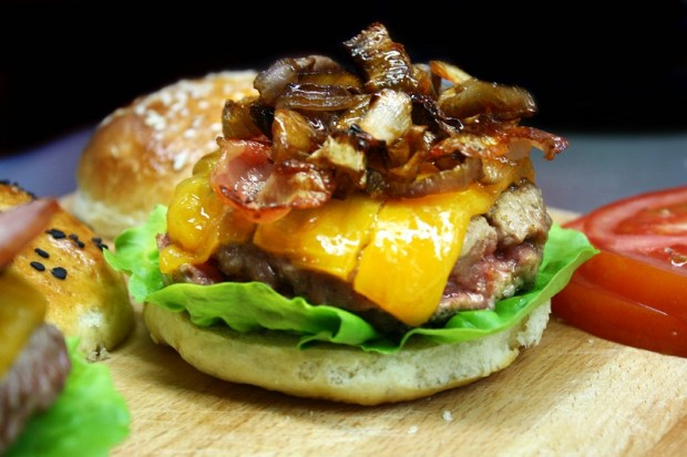 perfect homemade burger with caramelized onions