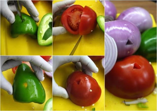 κοντοσούβλι - τα λαχανικά