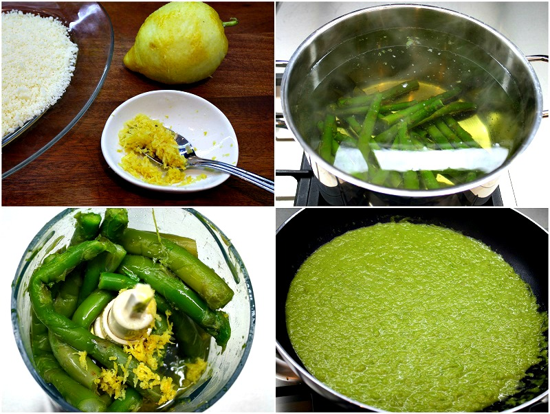 step by step making: asparagus sauce made from boiled asparagus with lemon zest